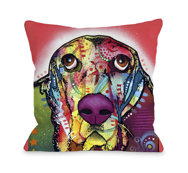 Basset Throw Pillow by Dean Russo