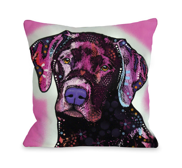 Black Lab Throw Pillow by Ursula Dodge