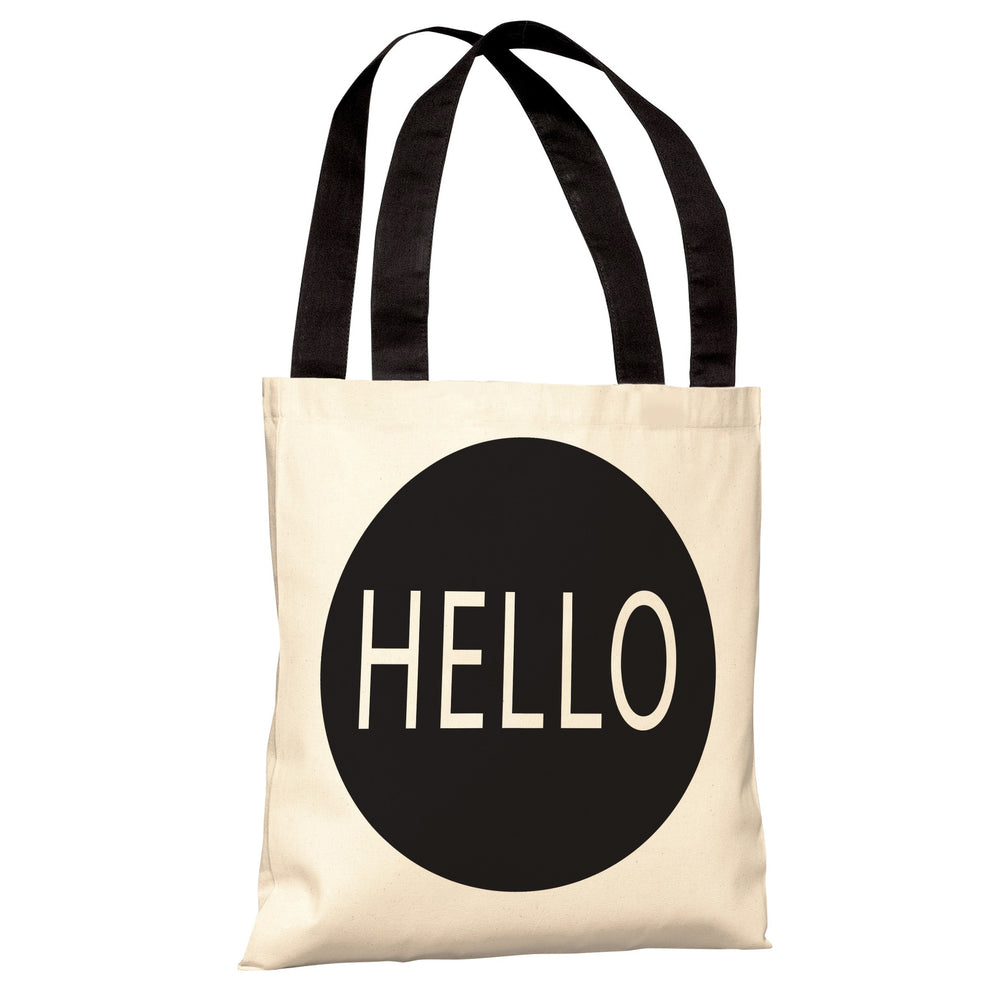 Hello Circle Black Tote Bag by OBC