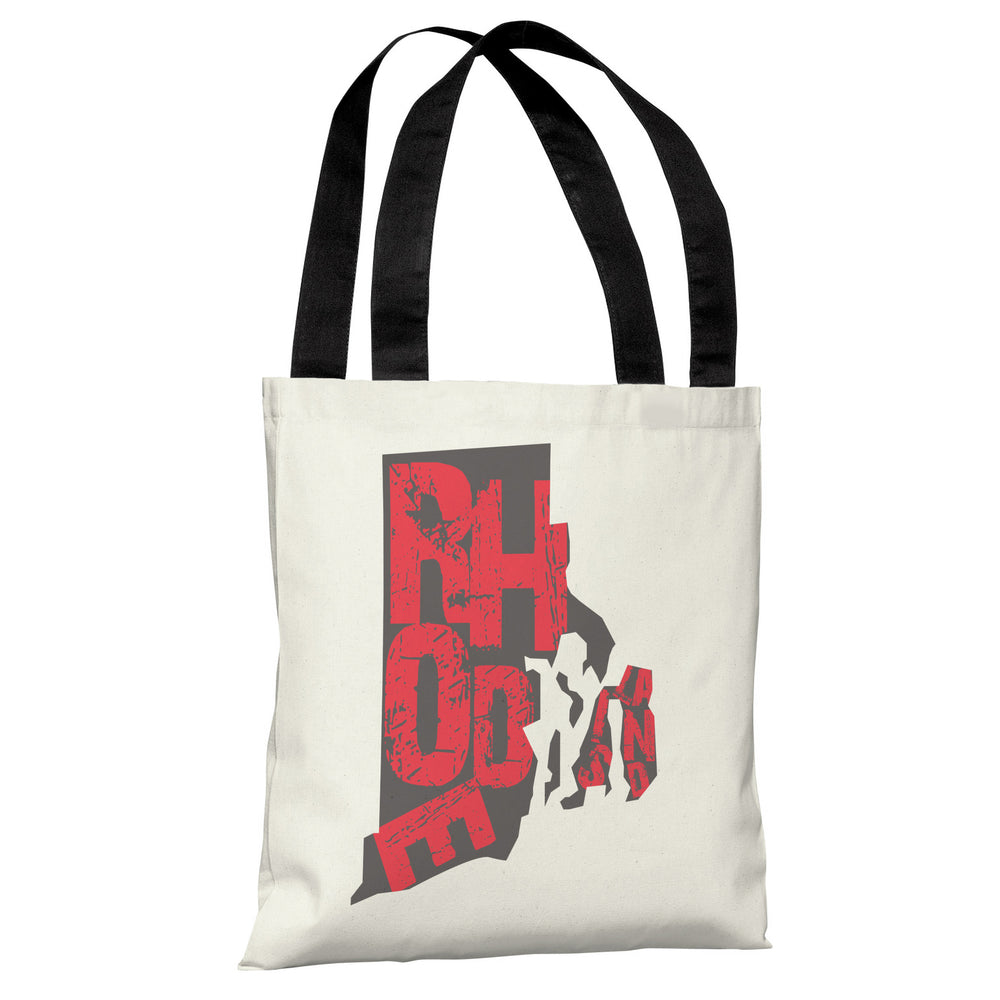 Rhode Island State Type Tote Bag by OBC