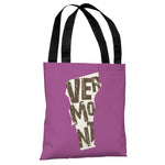 Vermont State Type Tote Bag by OBC