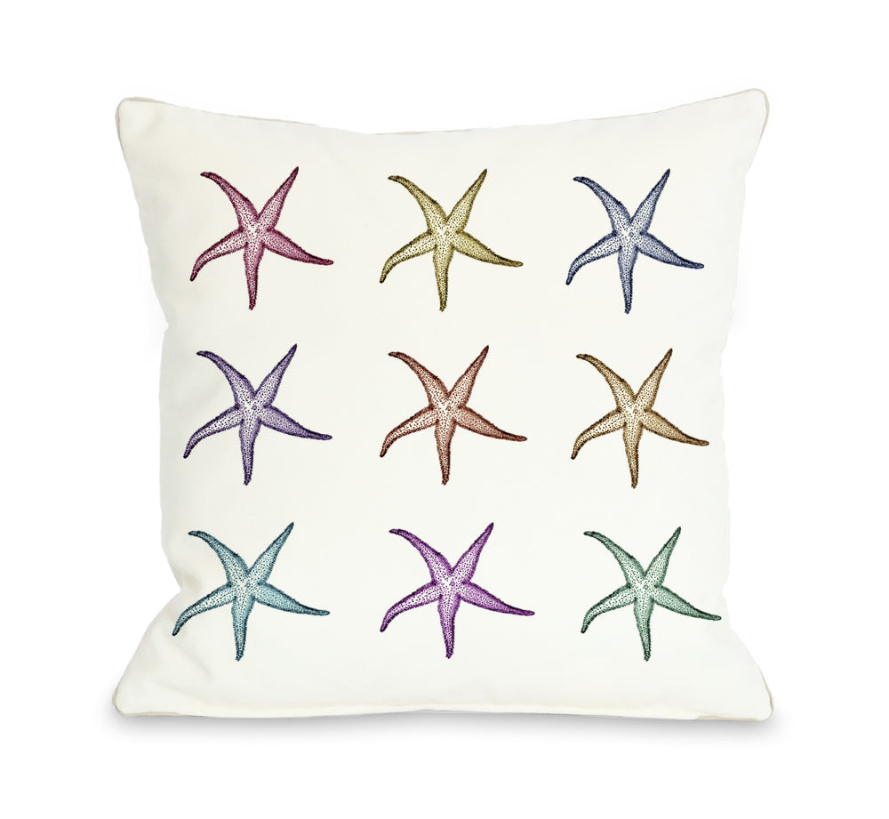 Starfish Pattern Outdoor Throw Pillow by OBC