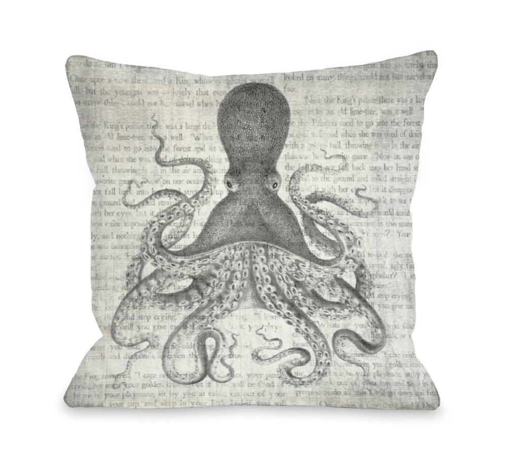 Vintage Octopus   Outdoor Throw Pillow by OBC