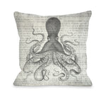 Vintage Octopus   Throw Pillow by OBC