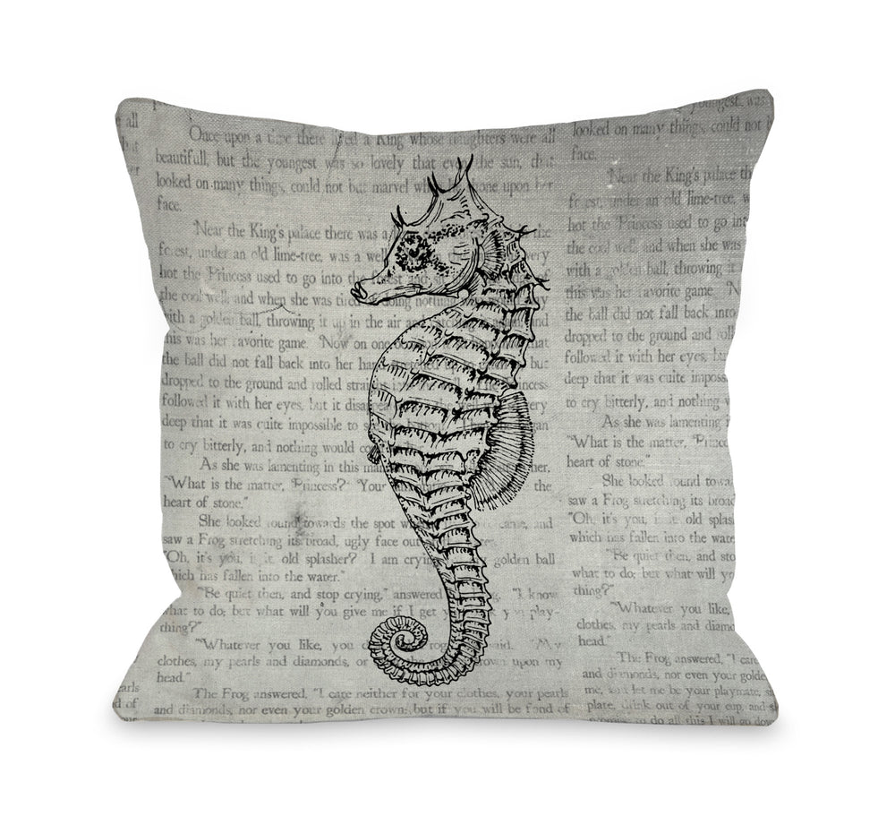 Vintage Seahorse Outdoor Throw Pillow by OBC