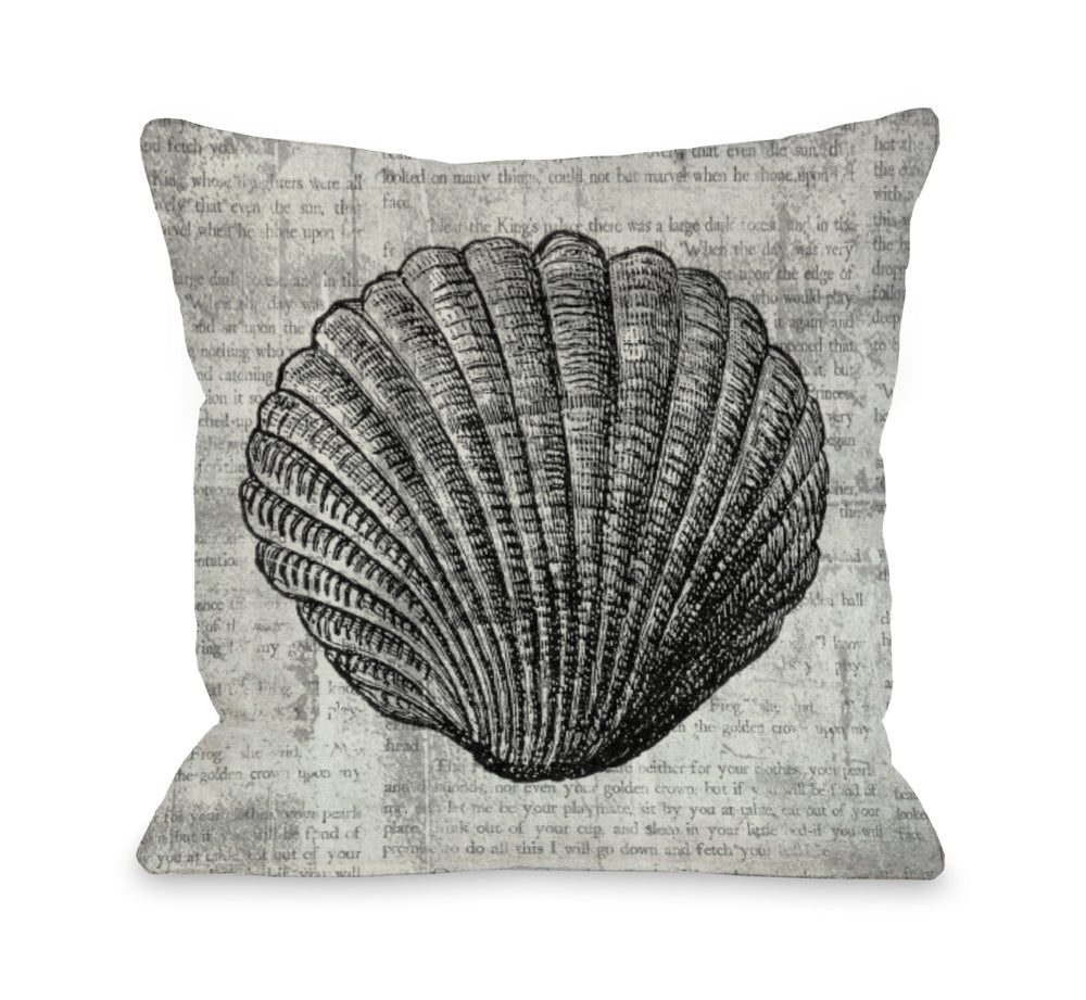 Vintage Seashell Throw Pillow by OBC