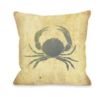 Blue Crab Throw Pillow by OBC