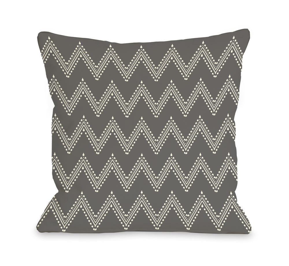 Athena Tier Chevron - Charcoal Cream Outdoor Throw Pillow by OBC