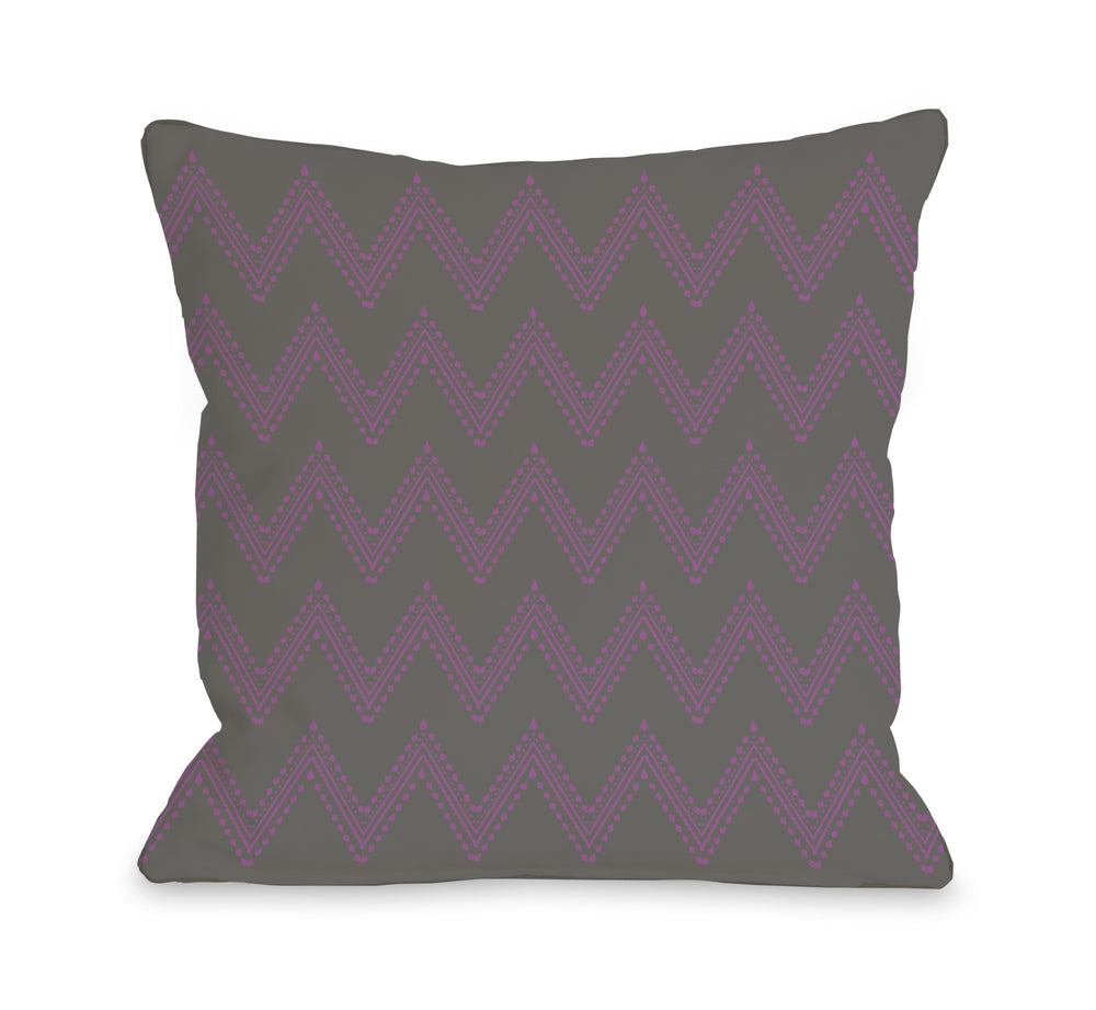 Athena Tier Chevron - Charcoal Orchid Outdoor Throw Pillow by OBC