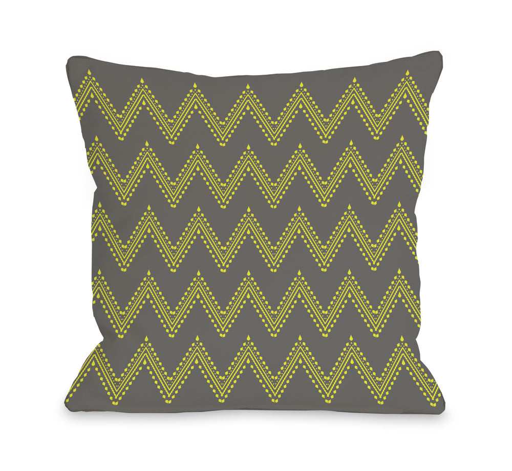 Athena Tier Chevron - Charcoal Yellow Outdoor Throw Pillow by OBC