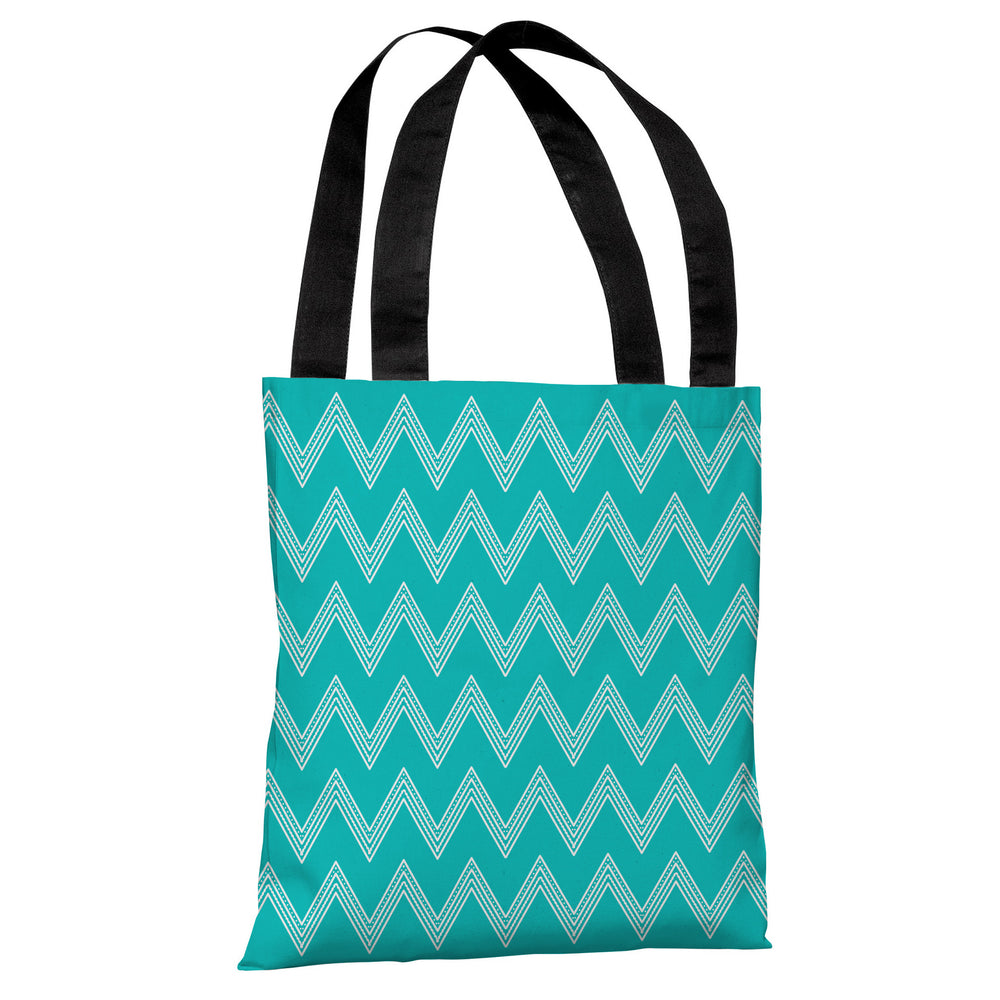 Emily Tier Chevron - Turquoise Tote Bag by OBC