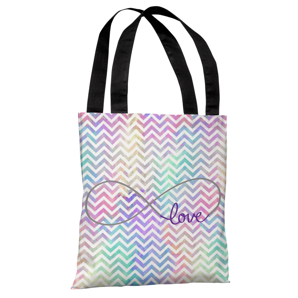 Infinite Love Mix & Match Watercolor Chevron Tote Bag by OBC