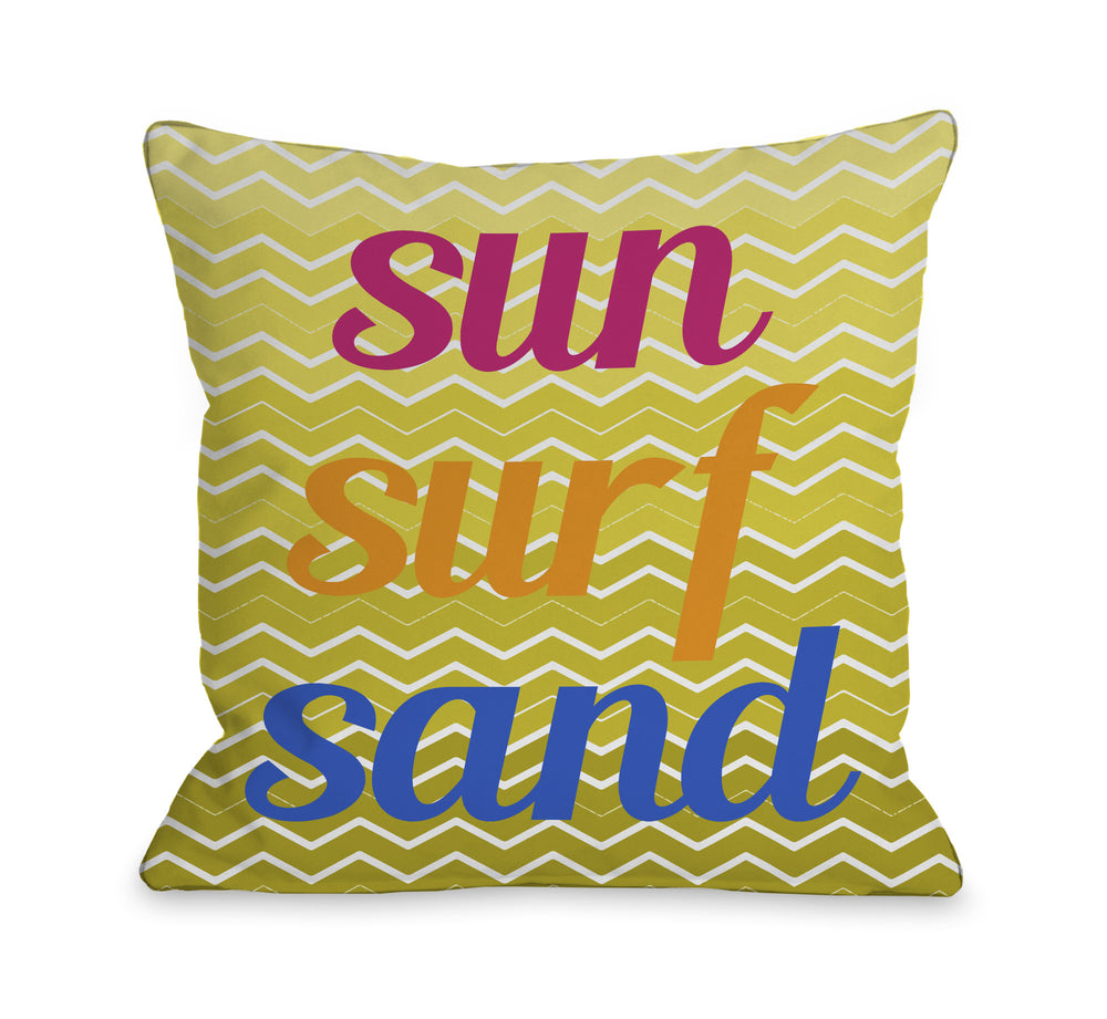 Sun Surf Sand Chevron Throw Pillow by OBC
