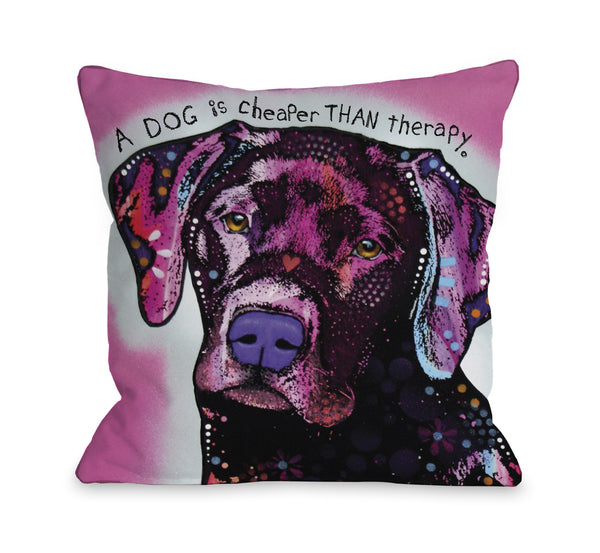 Black Lab with Text Throw Pillow by Dean Russo
