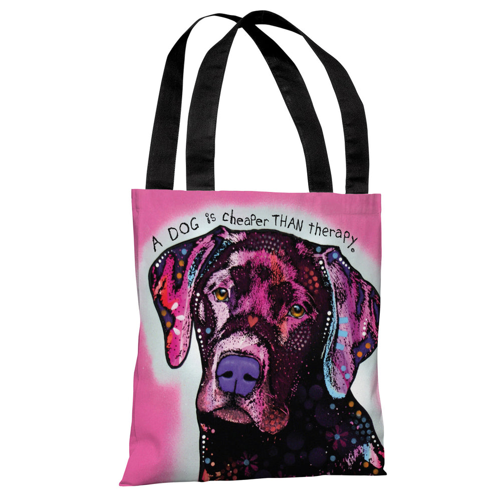 Black Lab with Text Tote Bag by Dean Russo