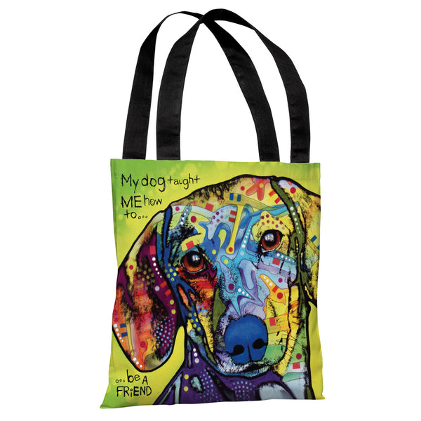 Dachshund with Text Tote Bag by Dean Russo