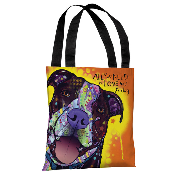 Daisy Pit with Text Tote Bag by Dean Russo