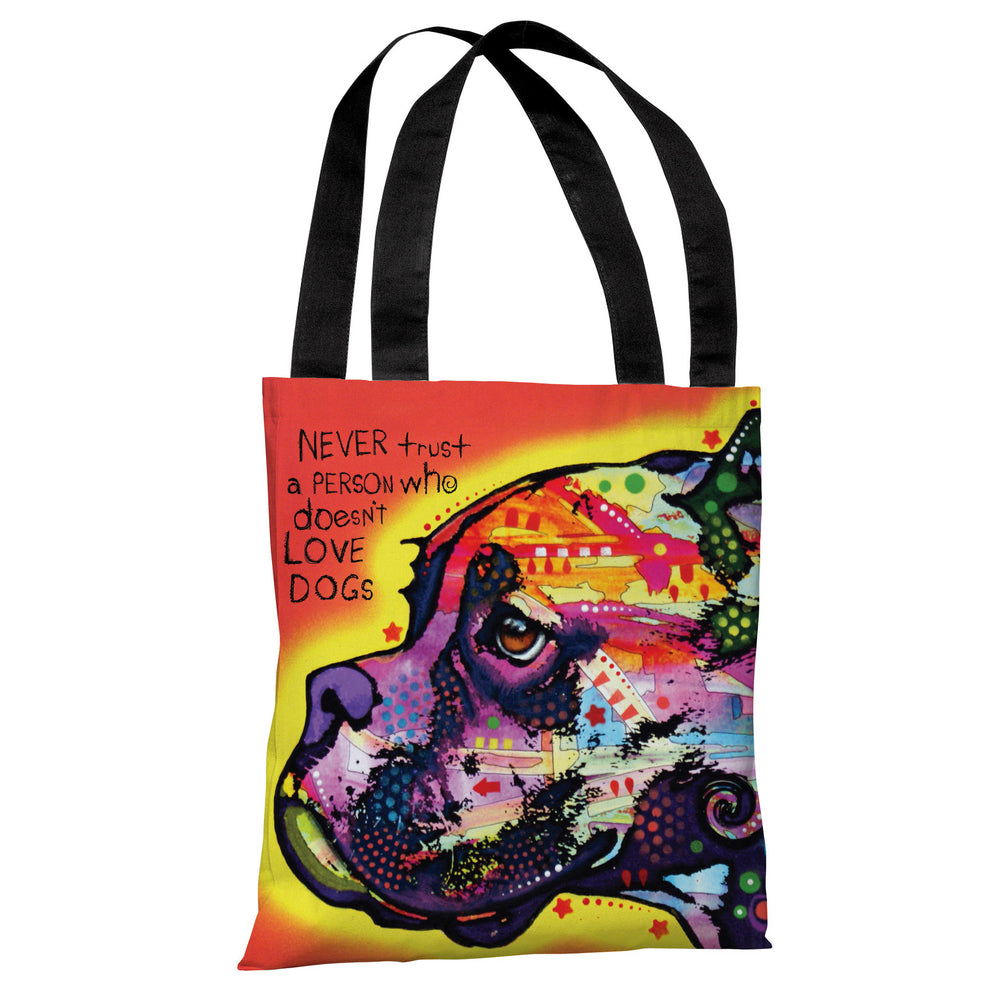 Profile Boxer with Text Tote Bag by Dean Russo