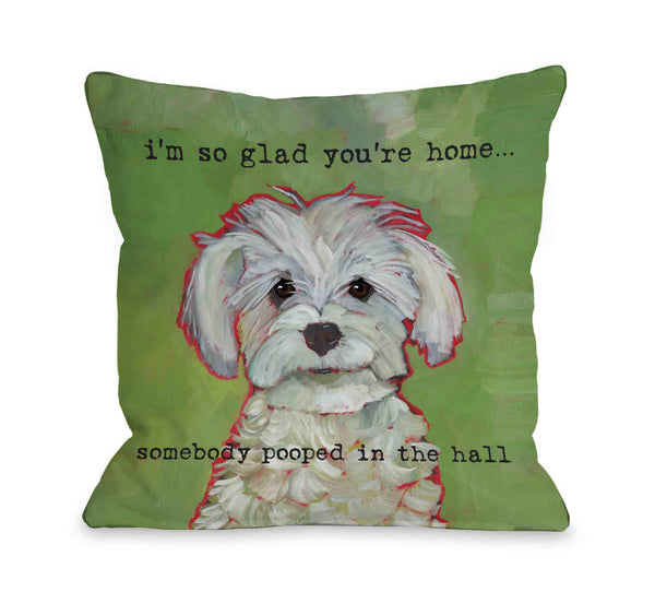 Somebody Pooped Throw Pillow by Ursula Dodge