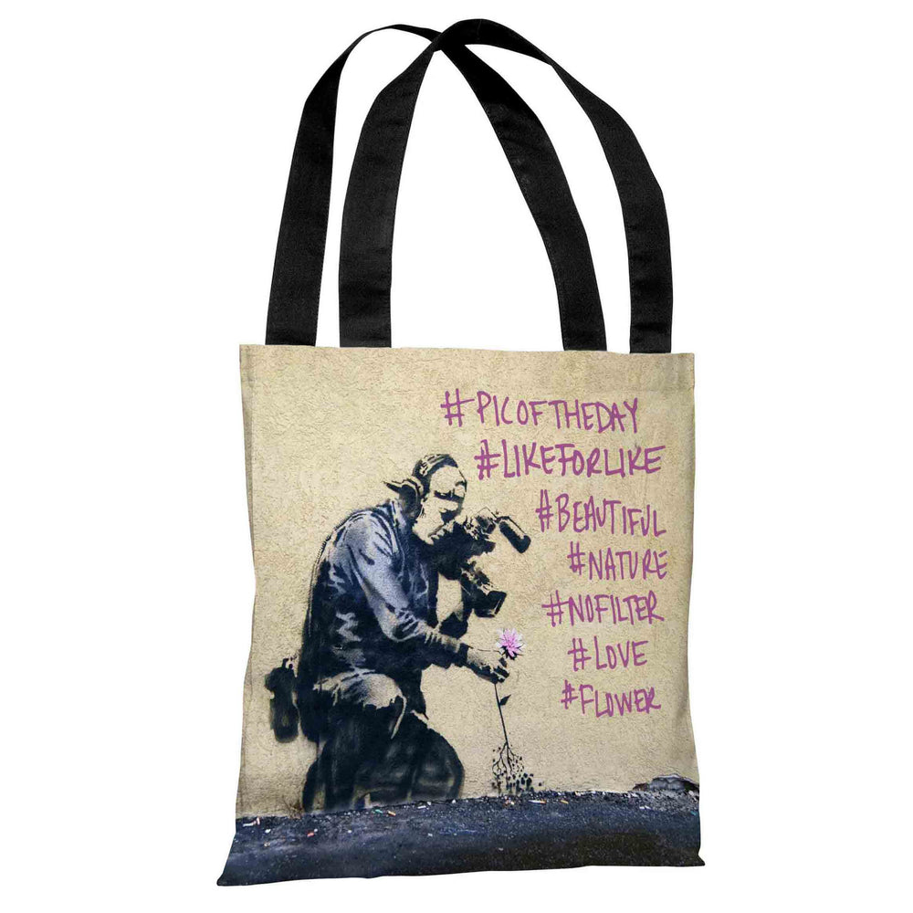 Flower Hashtags Tote Bag by Banksy
