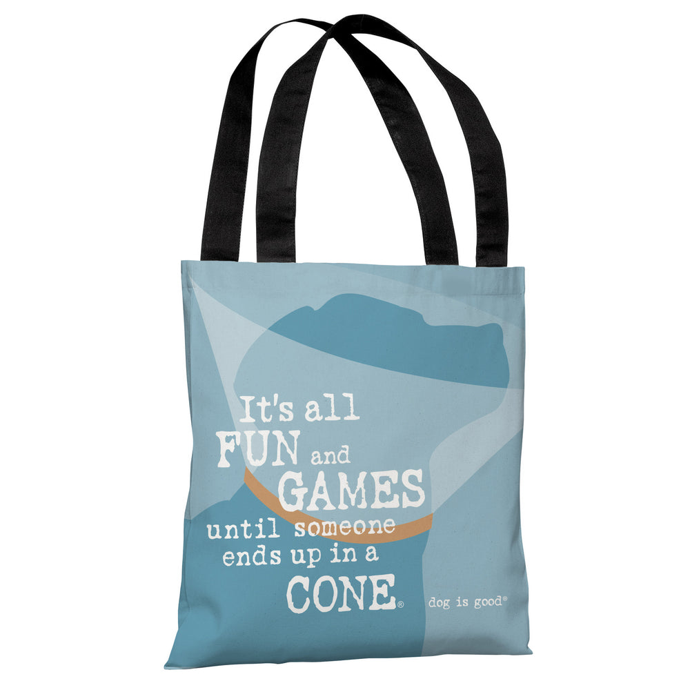Fun and Games Cone - Blue Tote Bag by Dog is Good