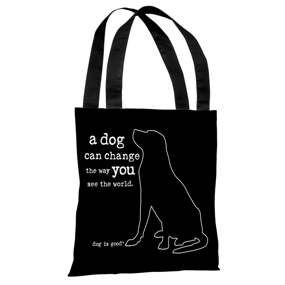 Dog Can Change - Black White Tote Bag by Dog is Good