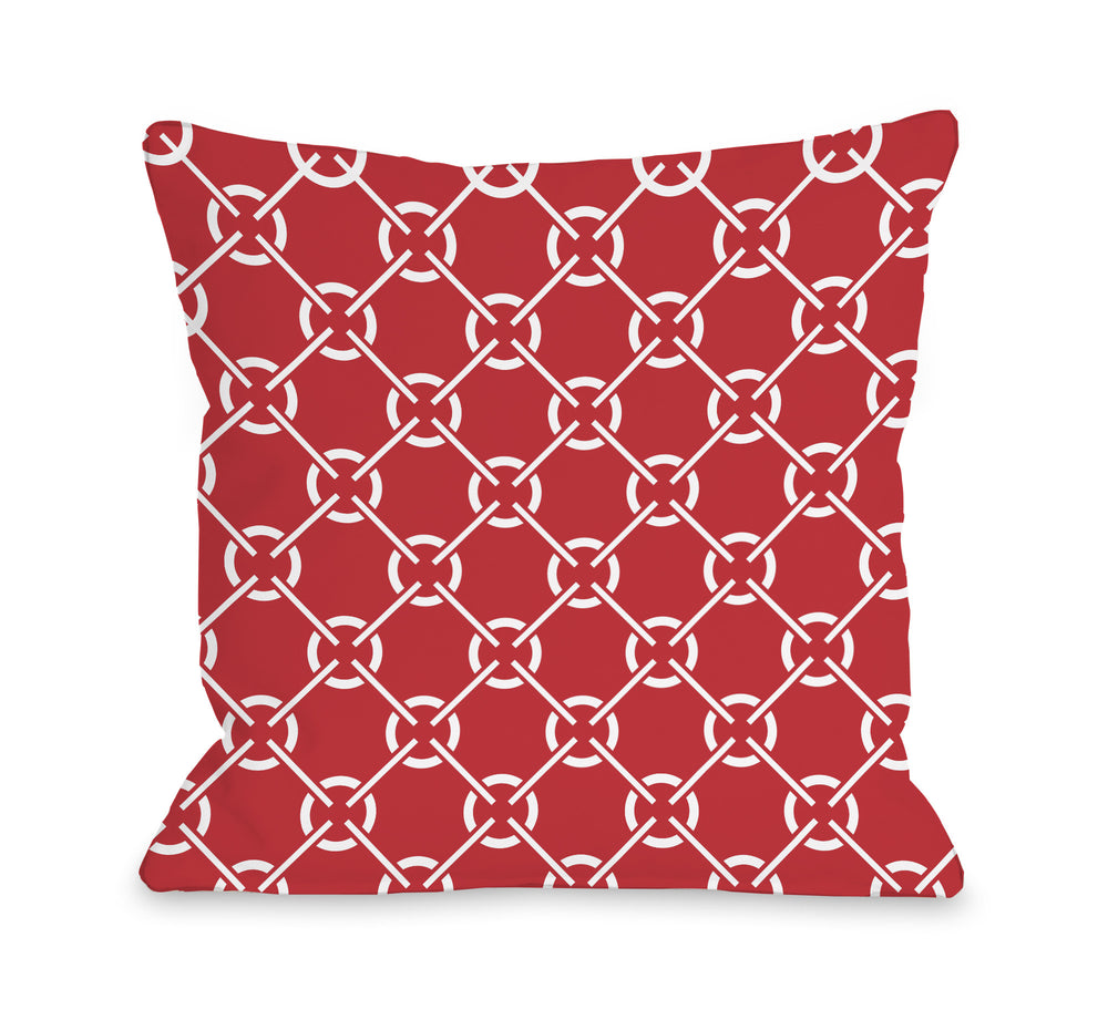 Cecile's Circles - Poppy Red Outdoor Throw Pillow by OBC