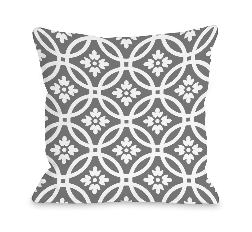 Meredith Circles - December Gray Outdoor Throw Pillow by OBC