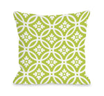 Meredith Circles - Lime White Outdoor Throw Pillow by OBC