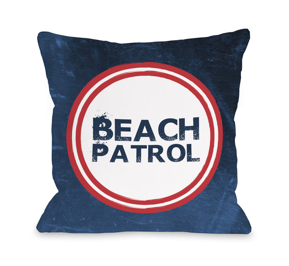 Beach Patrol - Navy Red Outdoor Throw Pillow by OBC