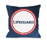 Lifeguard - Navy Red Throw Pillow by OBC