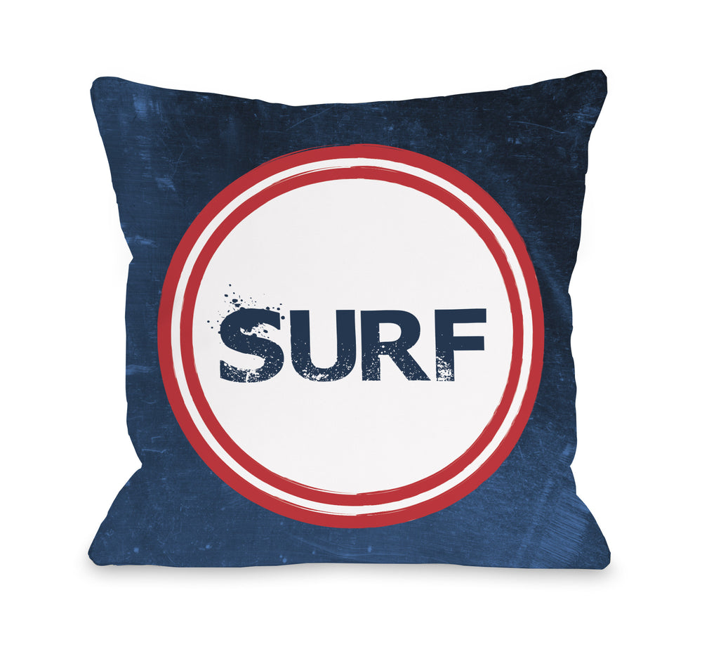 Surf - Navy Red Outdoor Throw Pillow by OBC