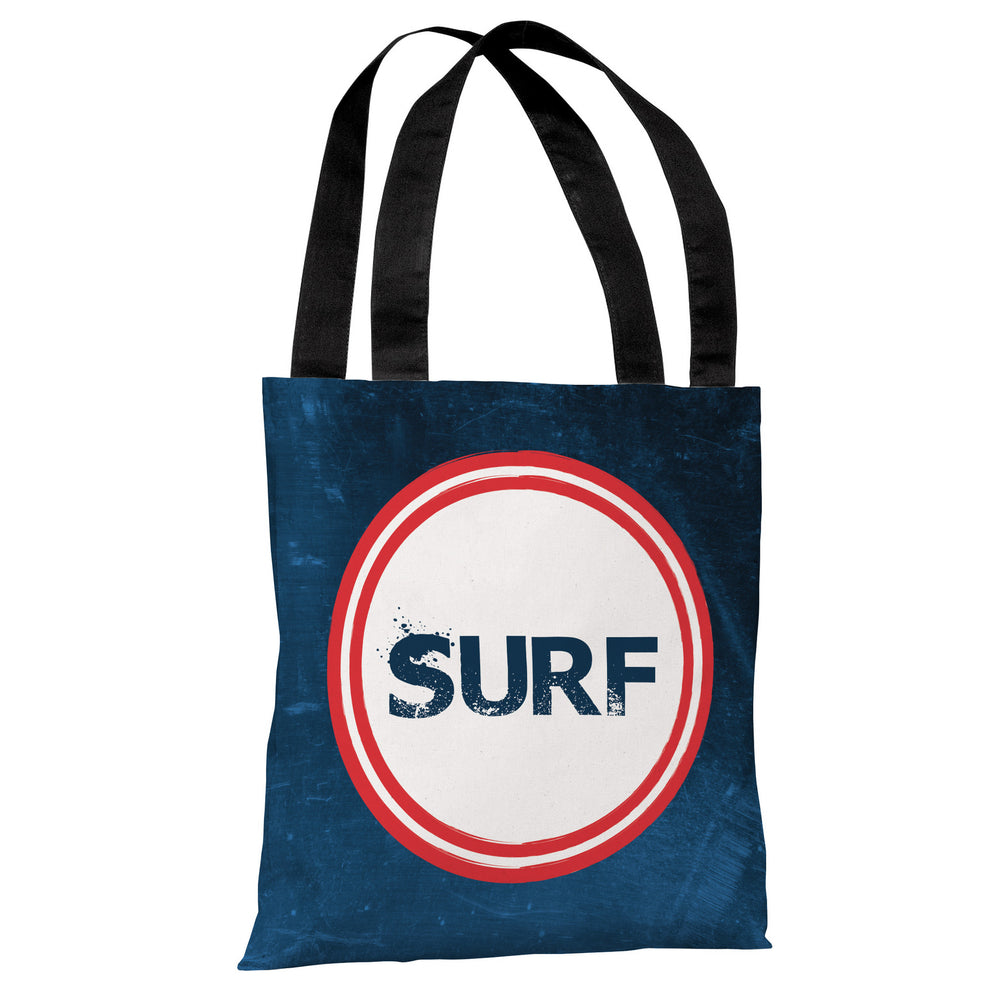 Surf - Navy Red Tote Bag by OBC