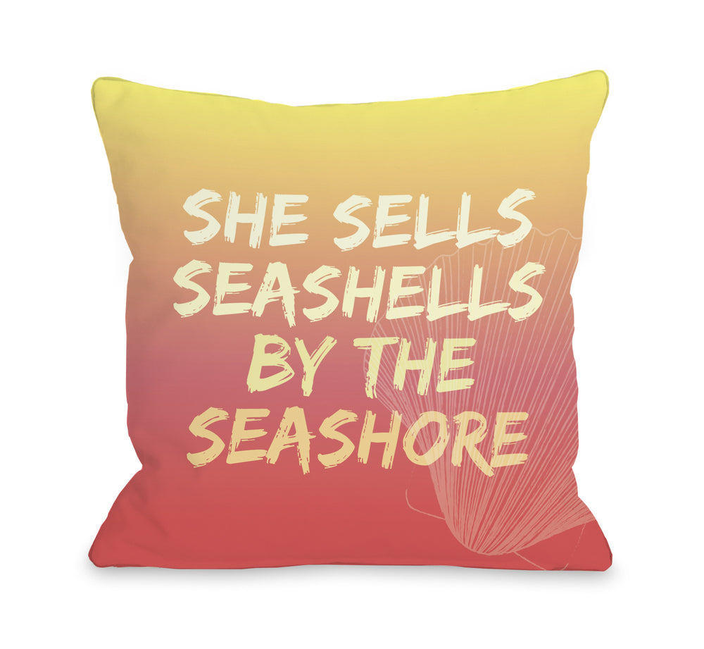 Seashell by the Seashore - Orange Multi Throw Pillow by OBC