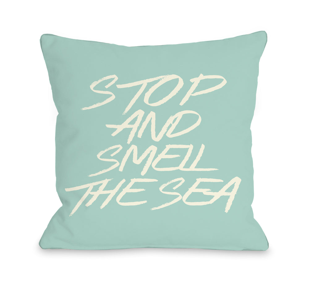 Stop and Smell the Sea - Beach Glass Throw Pillow by OBC