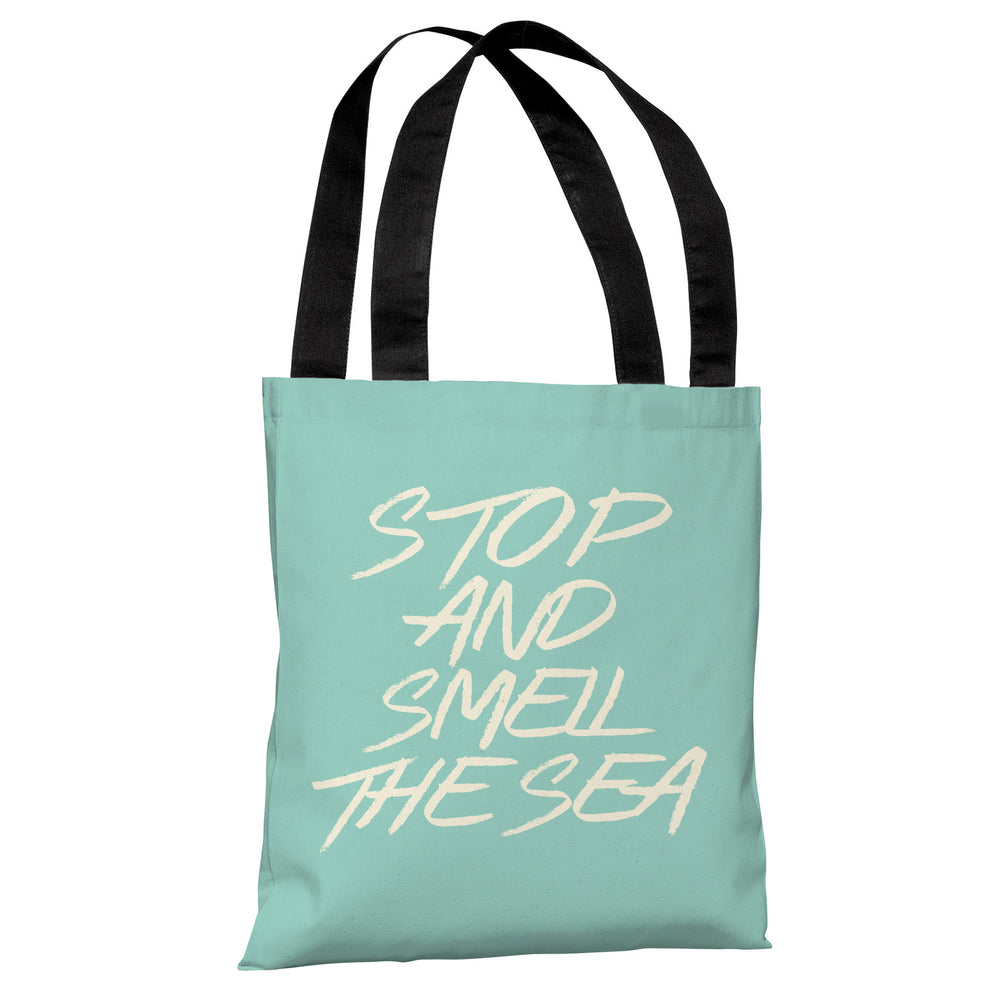 Stop and Smell the Sea - Beach Glass Tote Bag by OBC