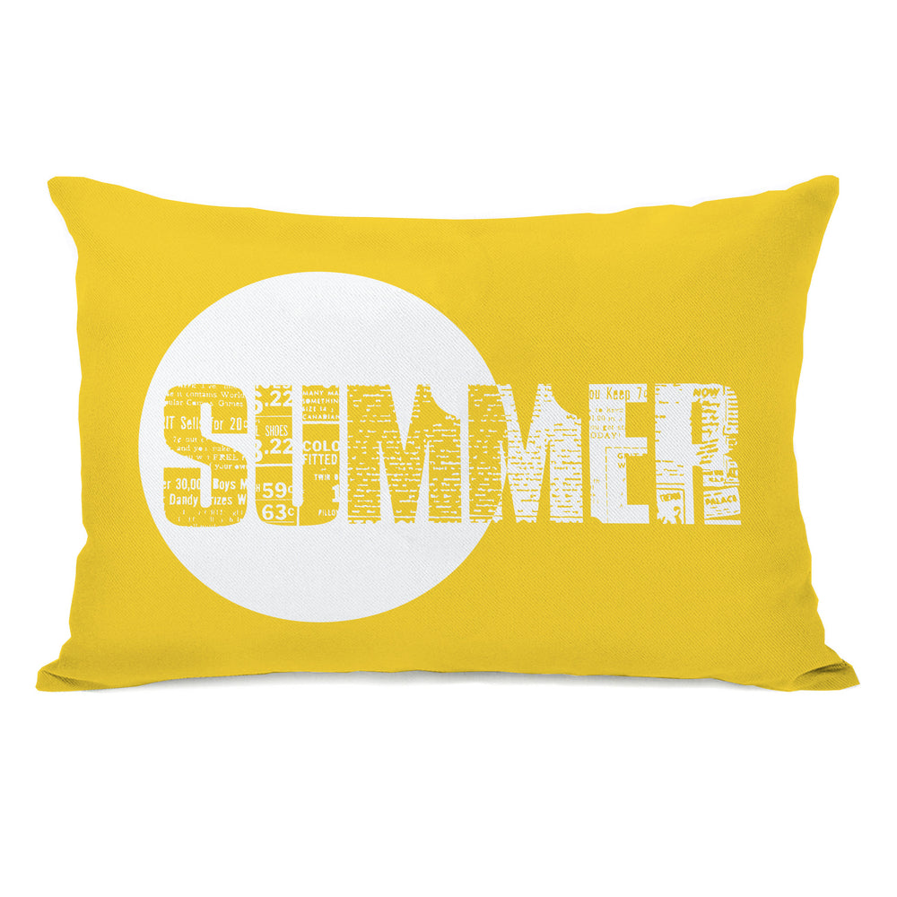Summer Text - Yellow Outdoor Throw Pillow by OBC