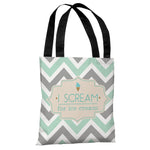 I Scream for Ice Cream - Turquoise Gray Cream Tote Bag by OBC