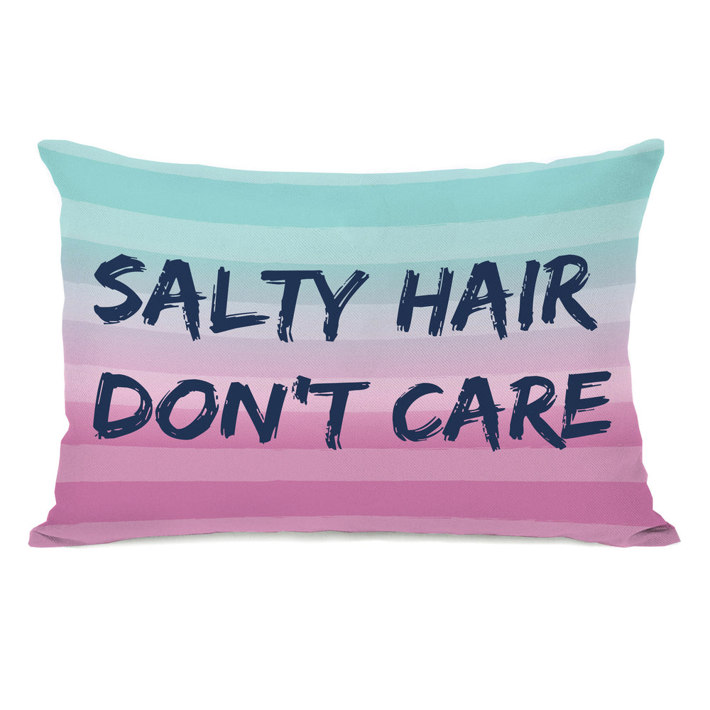 Salty Hair, Don't Care - Multi Navy Outdoor Throw Pillow by OBC