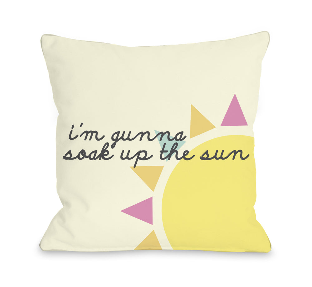 Soak Up The Sun - Yellow Throw Pillow by OBC