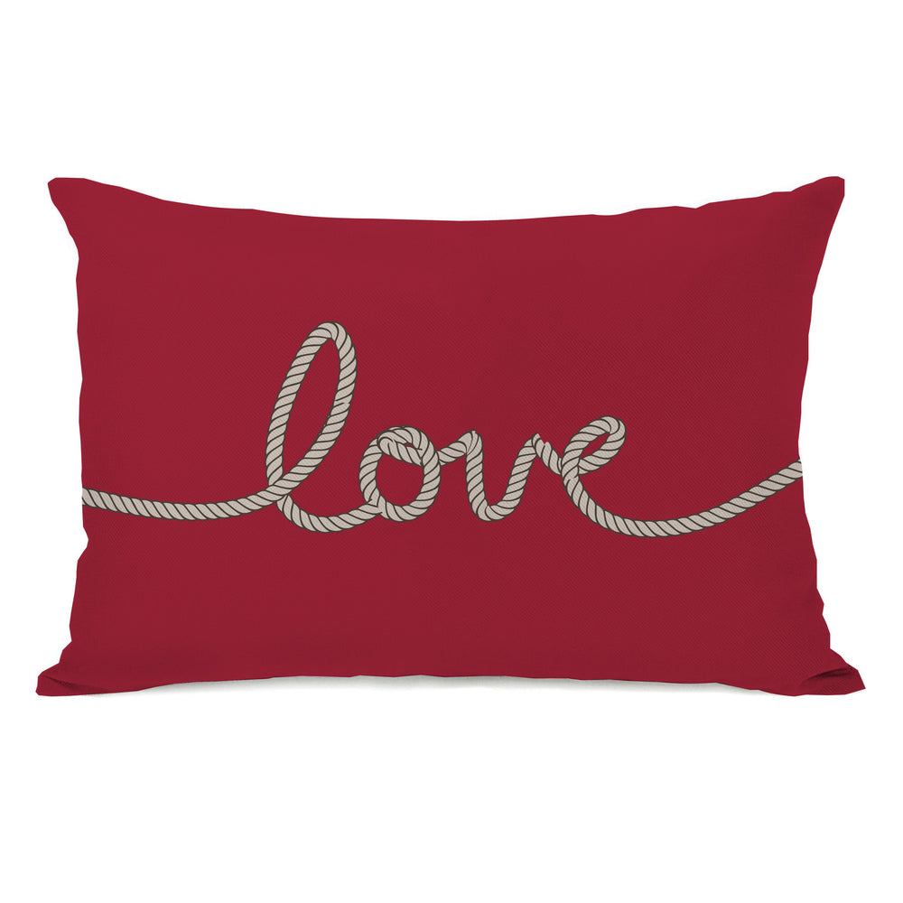 Love Rope - Red Tan Outdoor Throw Pillow by OBC
