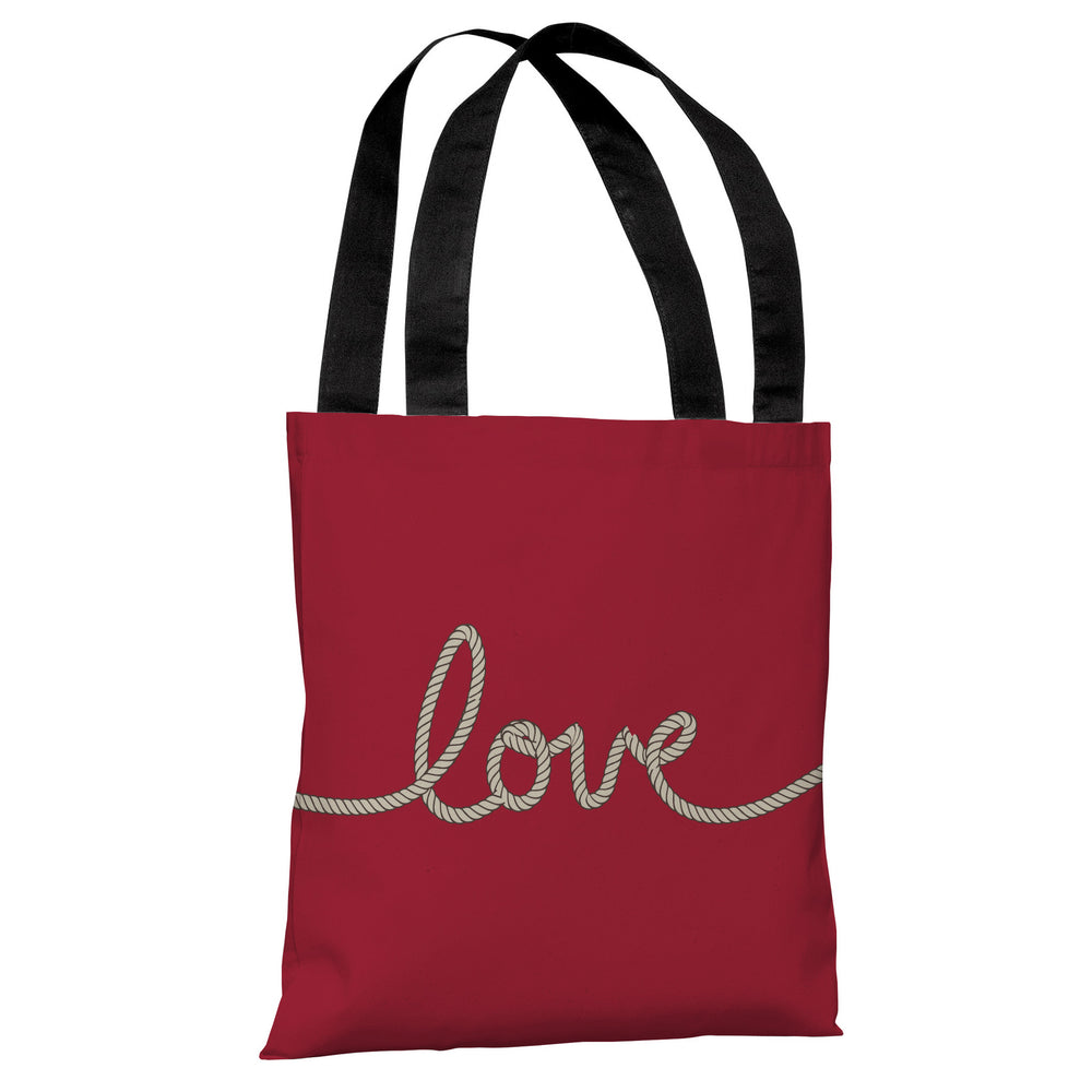 Love Rope - Red Tan Tote Bag by OBC