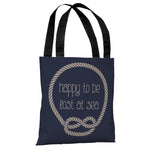 Happy to be Lost at Sea - Navy Tan Tote Bag by OBC