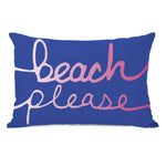 Beach Please - Blue Ombre Outdoor Throw Pillow by OBC