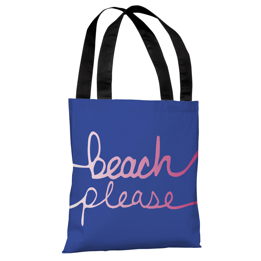 Beach Please - Blue Ombre Tote Bag by OBC