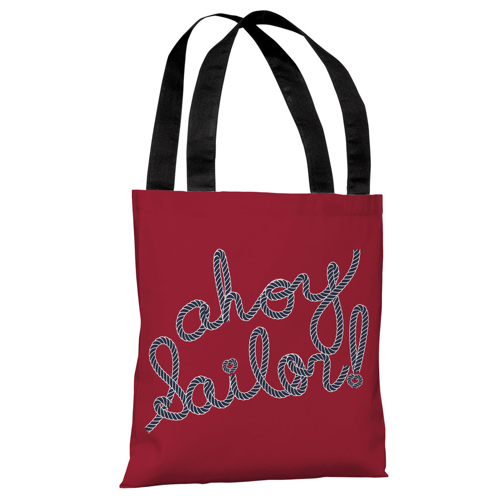 Ahoy Sailor Rope - Red Blue Tote Bag by OBC