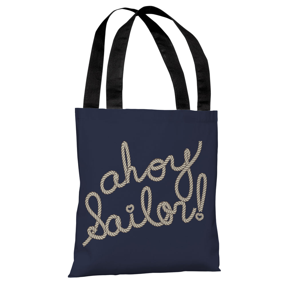 Ahoy Sailor Rope - Navy Tan Tote Bag by OBC