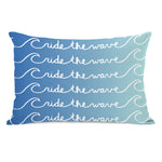 Ride the Wave - Blue Ombre Outdoor Throw Pillow by OBC