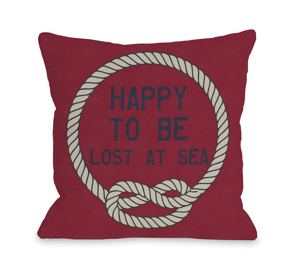 Happy to be Lost at Sea -  Red Tan Throw Pillow by OBC