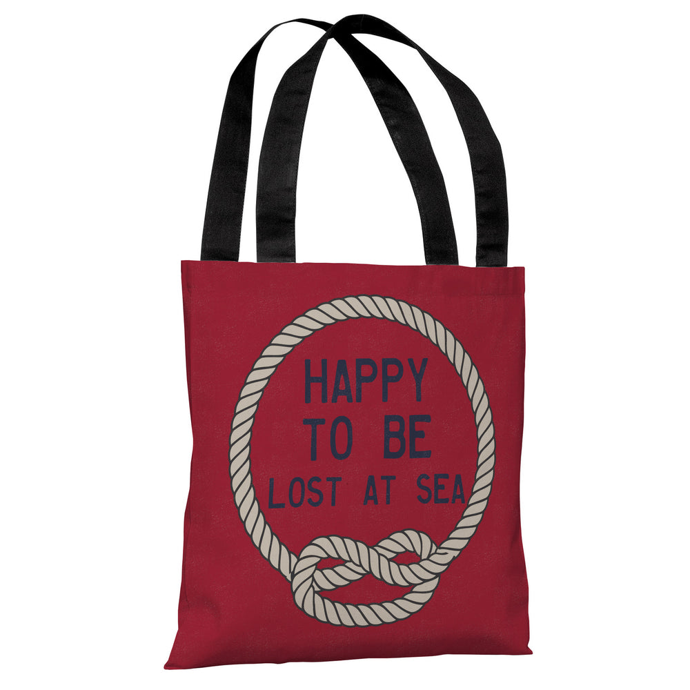 Happy to be Lost at Sea -  Red Tan Tote Bag by OBC